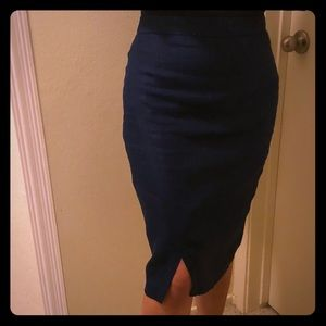 Limited Dark Blue Canvas Asymmetrical Pencil Skirt